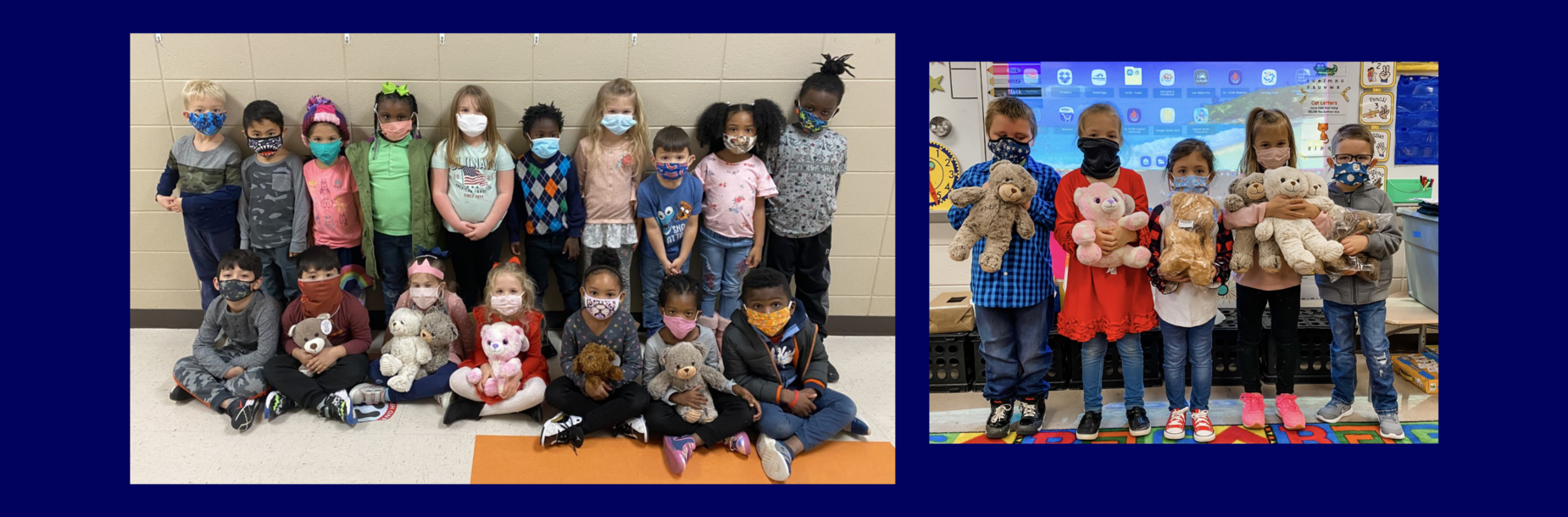 students holding teddy bears smiling