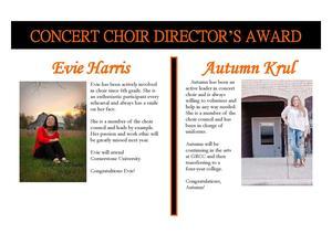 Evie Harris and Autumn Krul received the Concert Choir Director's Award.