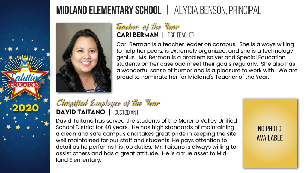 Midland Elementary Employees of the Year