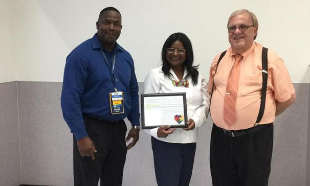 Congratulations to Mrs. Johnson, Park Vista Elementary Teacher, for receiving a $500.00 grant from Walmart for her Autistic Class. Pictured from left to right,: Mr. Tim Loston, Opleousas Store Manager # 543; Mrs. Johnson, PVE Teacher: and Mr. Joubert, Park Vista Elementary School Principal.