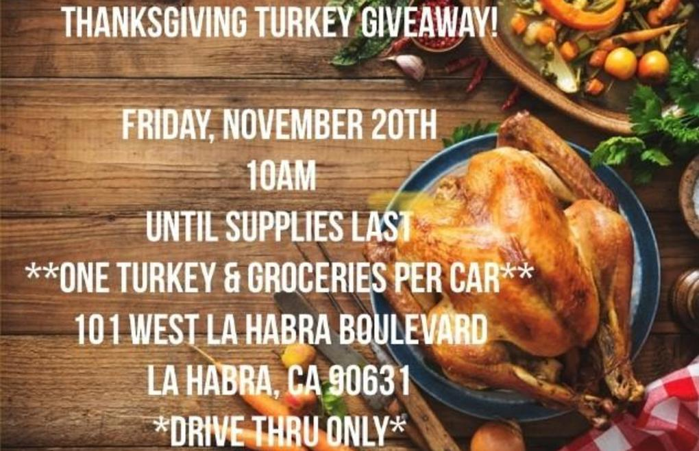 Picture has details for a turkey dinner give away.