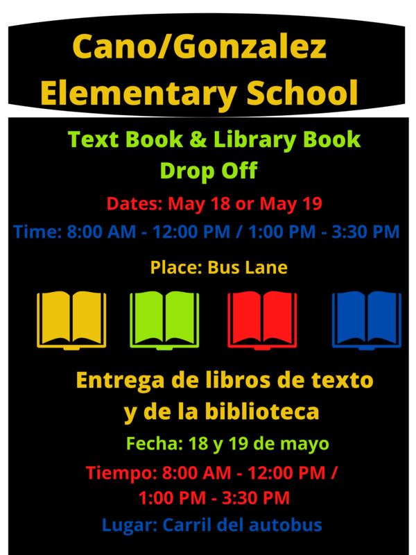Textbook and library book drop off: May 18-19 from 8-12 and 1-3:30. Boxes set up at the bus lane for drop offs.