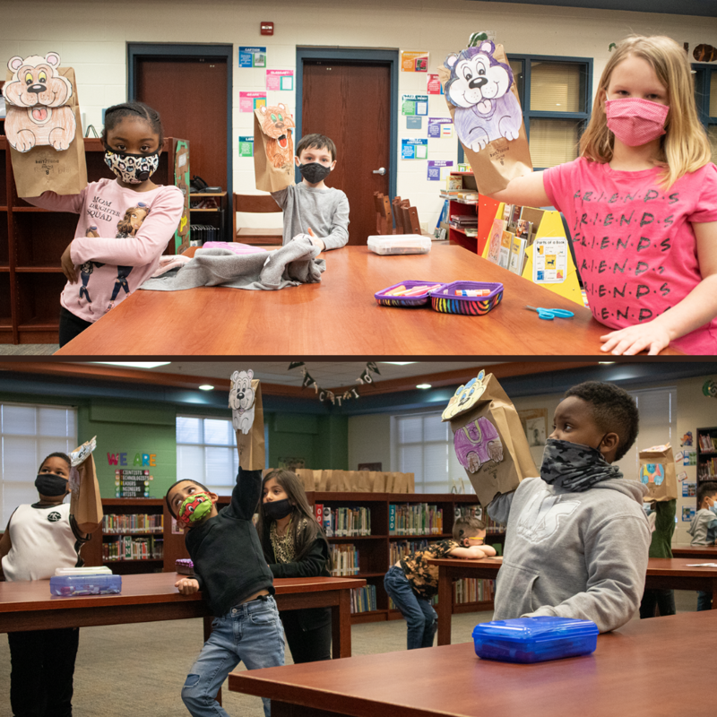 students making paper bag puppets