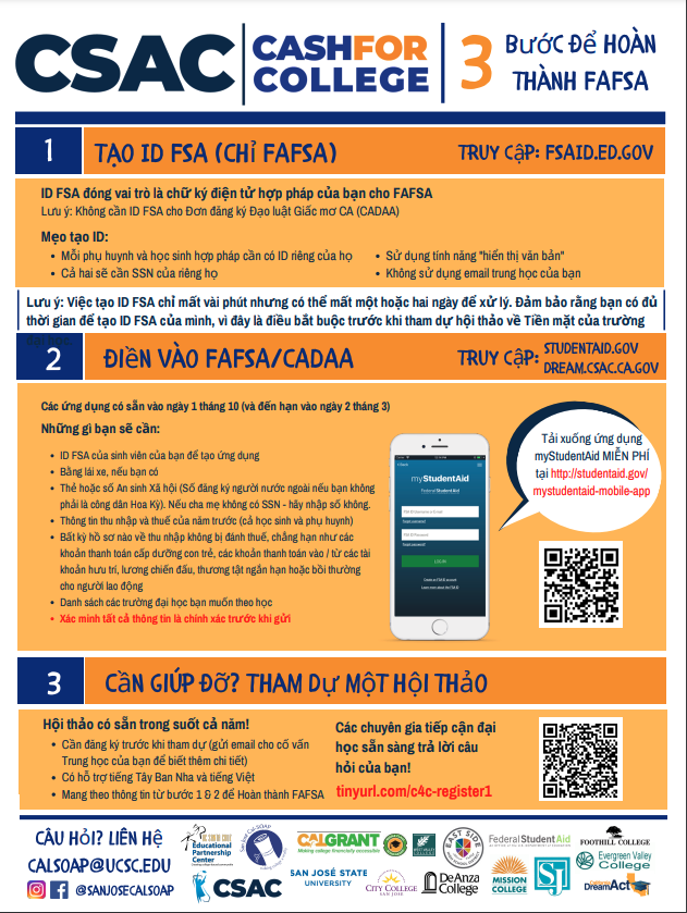 fafsa support from csac vietnamese