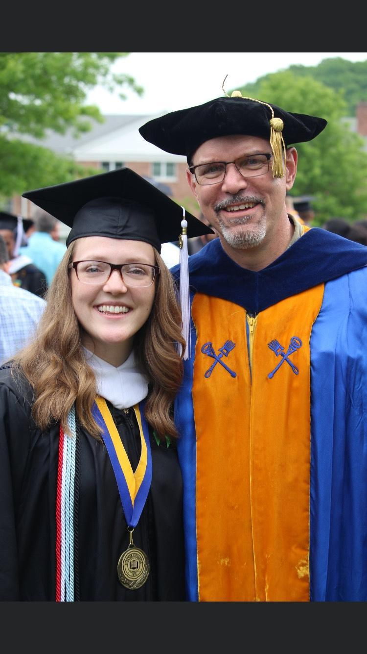 Celebrating graduation with my mentor, Jim Tuten