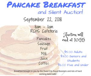 Pancake Breakfast on 9/22/2018 8am - 11am at RCHS