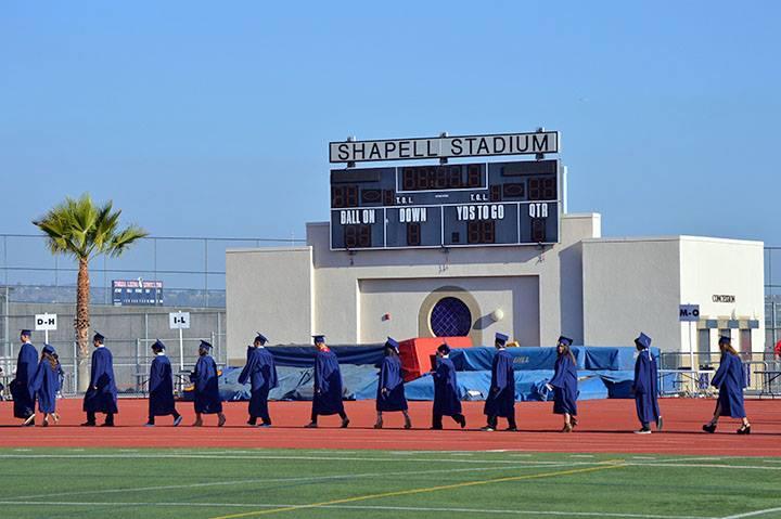 Graduates entering the stadium