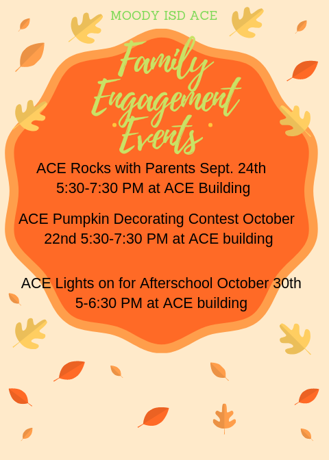 This image is a list of family events for ACE parents