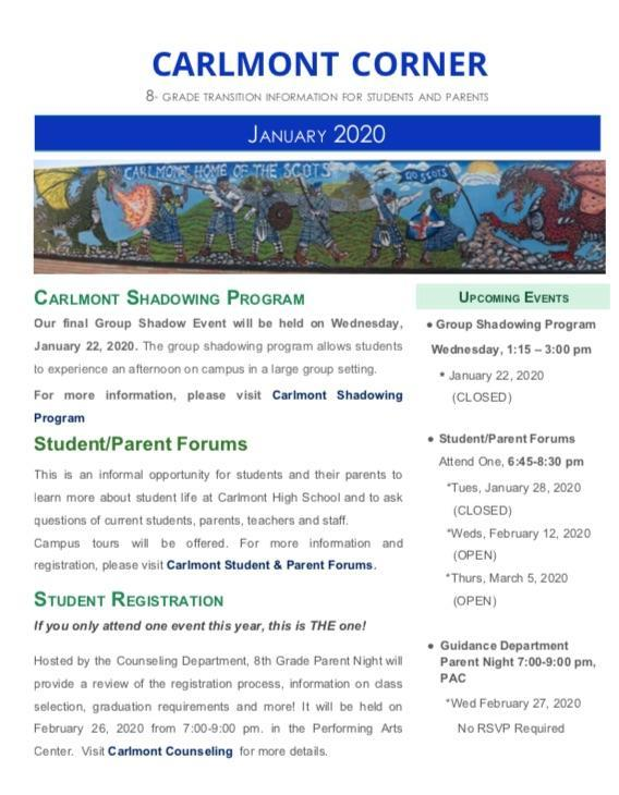 January Carlmont Corner Featured Photo