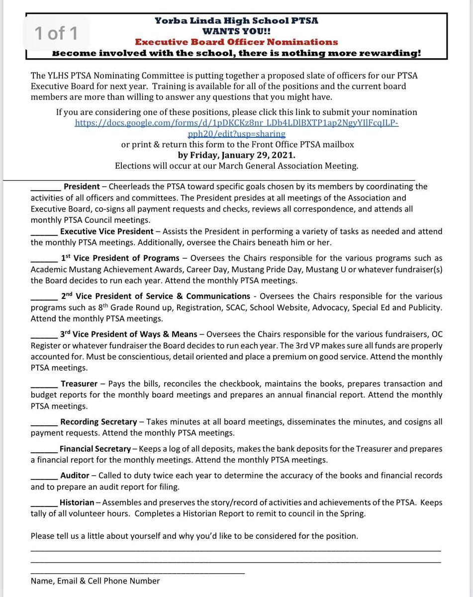 2021-2022 Request for Exec Board Volunteers