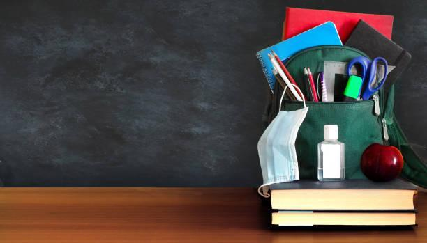 Student backpack with mask