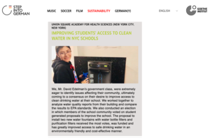 Student in the access to clean water in NYC schools project