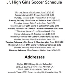 girls soccer schedule
