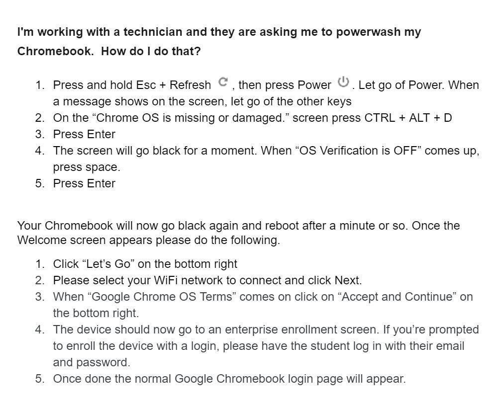 powerwash instructions