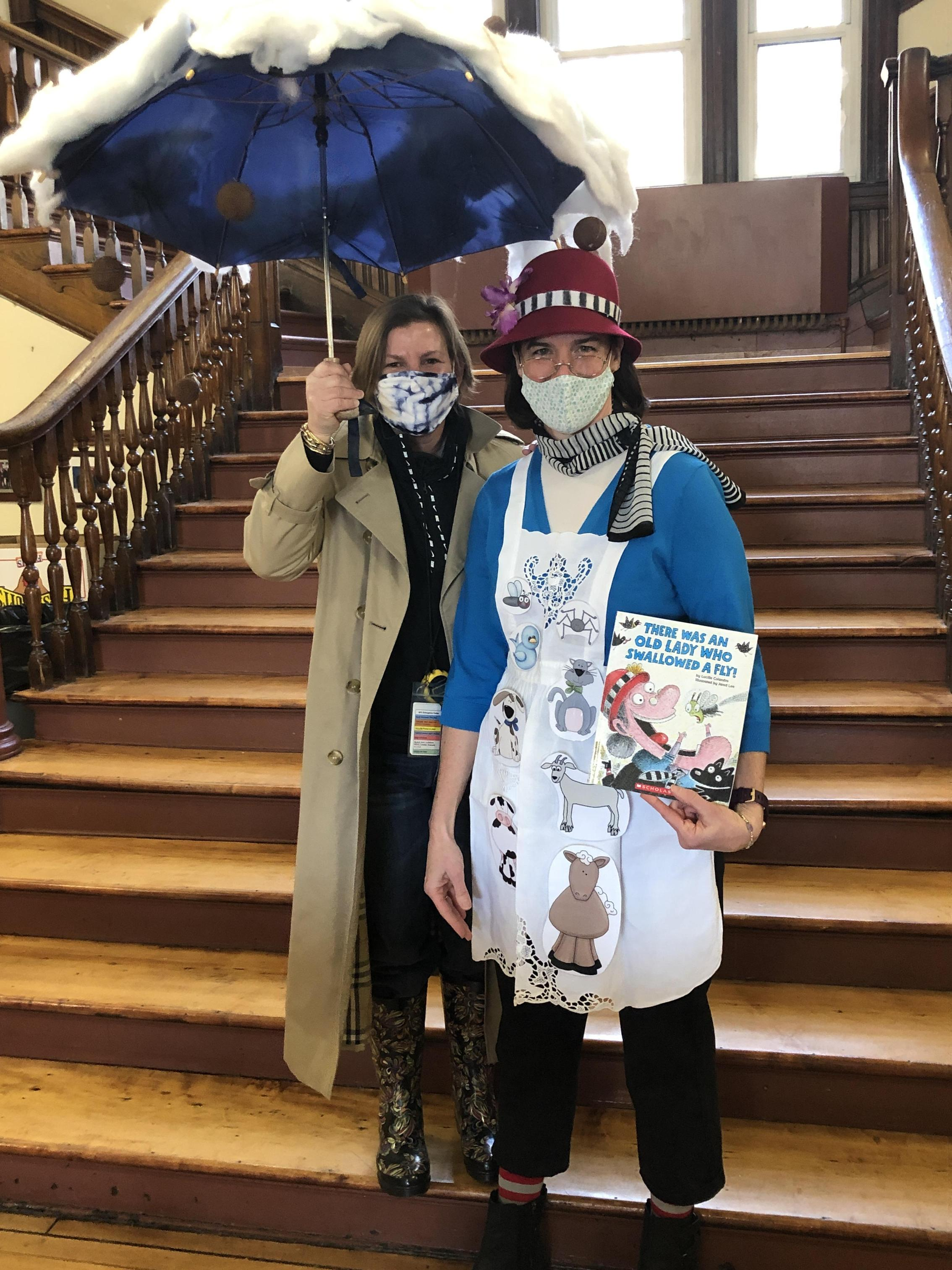 Two teachers dressed up as book characters