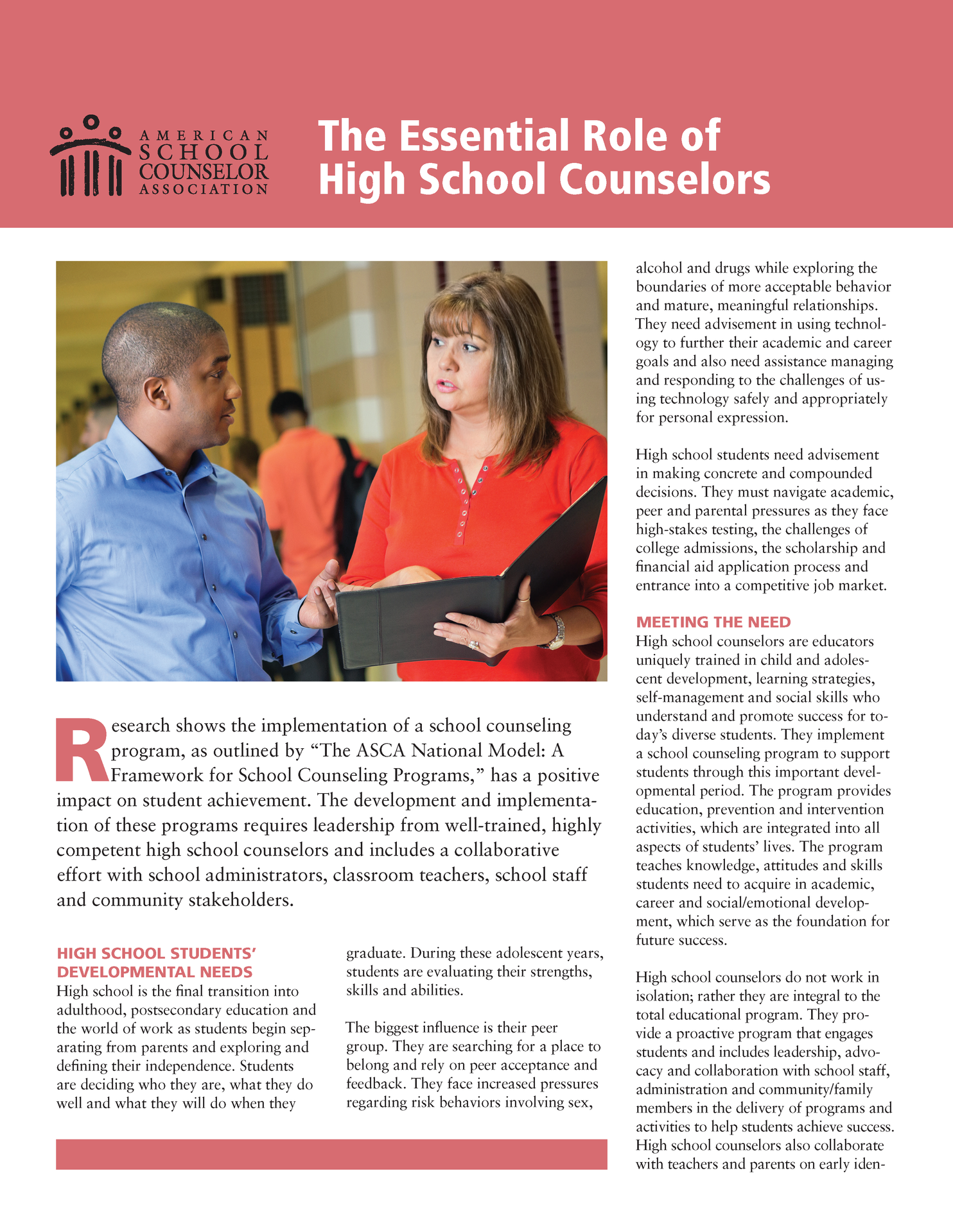 graphic describing high school counselors role