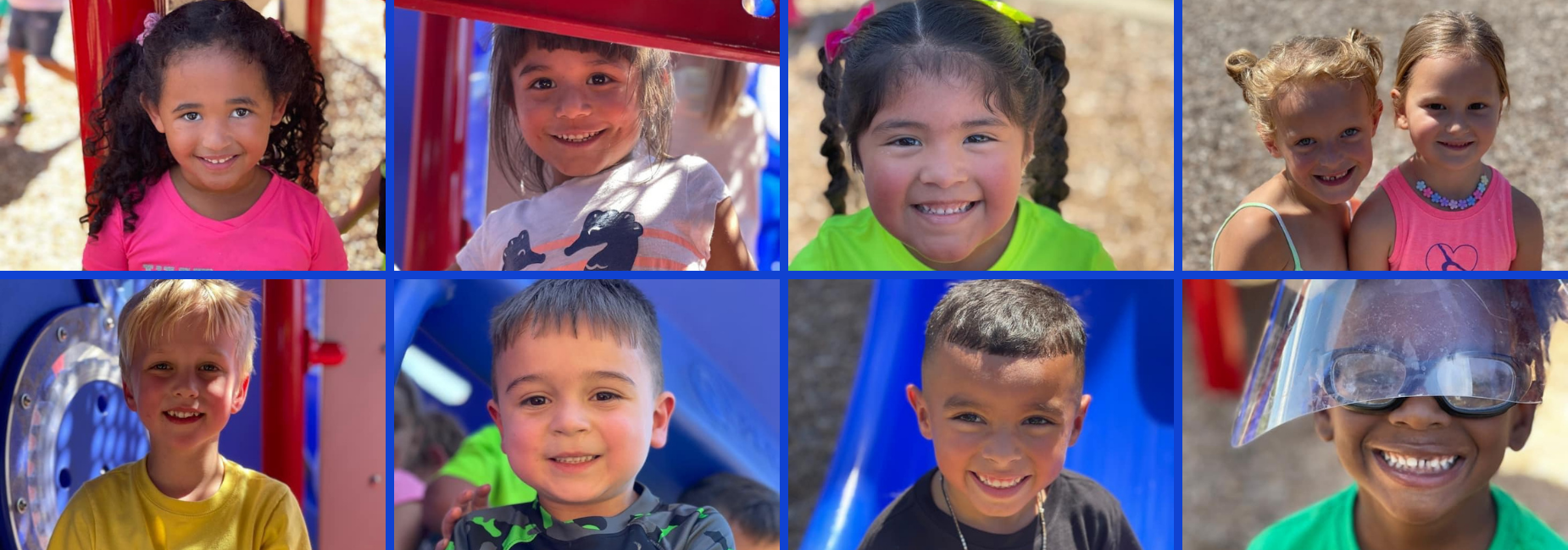 collage of young kiddos on the playground