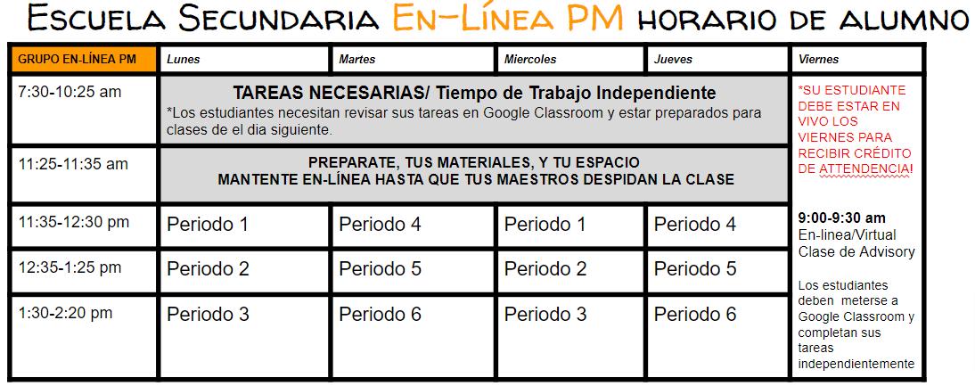 Mesa pm schedule online espanol