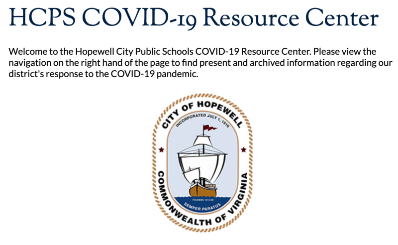 the image is a screenshot of the HCPS COVID-19 Resource Page