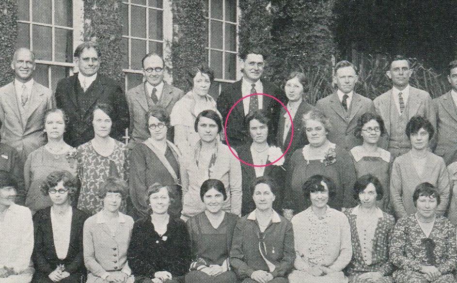 Art teacher, Miss Dorothy Haywood (center) who drew the first bulldog