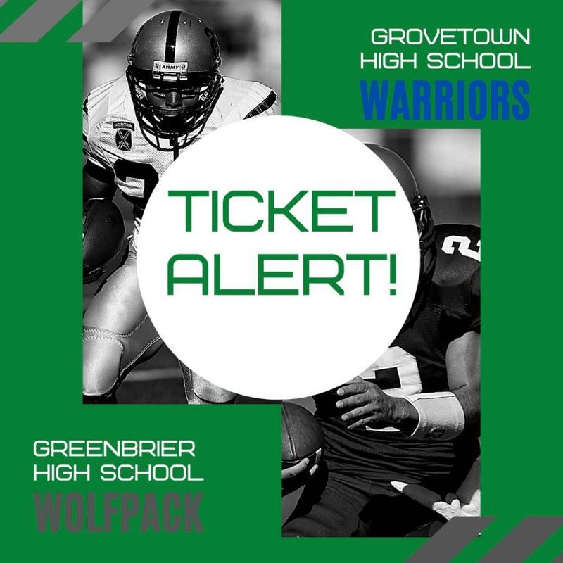 All tickets for this Friday's football game at Grovetown High School will go on sale at 6:00 PM today (09/20).