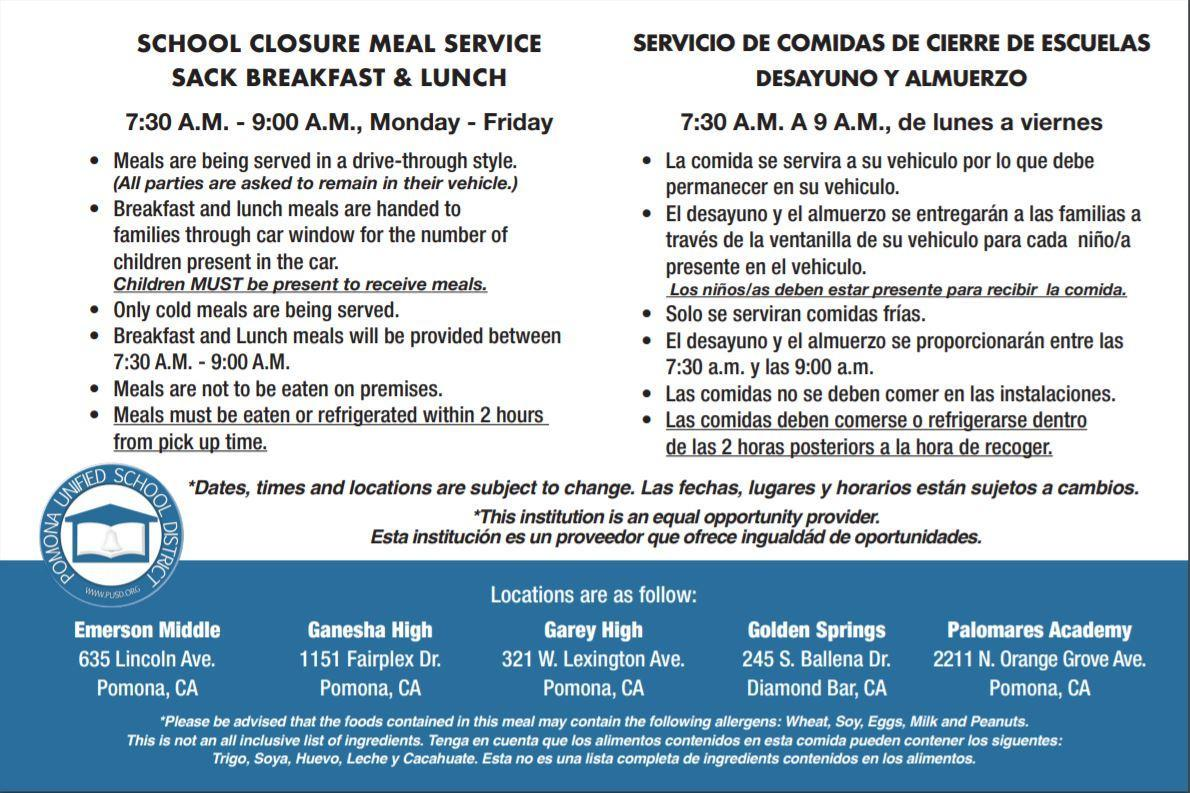 PUSD Closure Free Breakfast Lunch