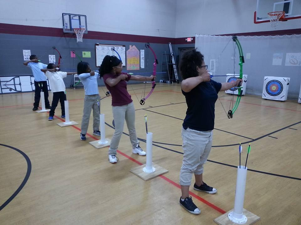 Students practicing Archery during P.E.