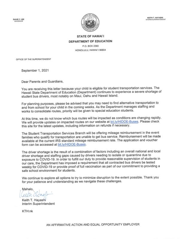 9.2.21 Student Transportation Letter