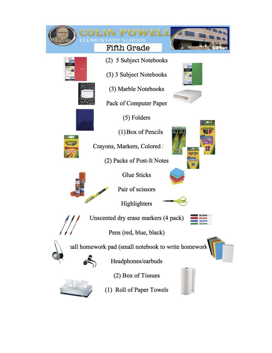 5th grade supplies picture/link