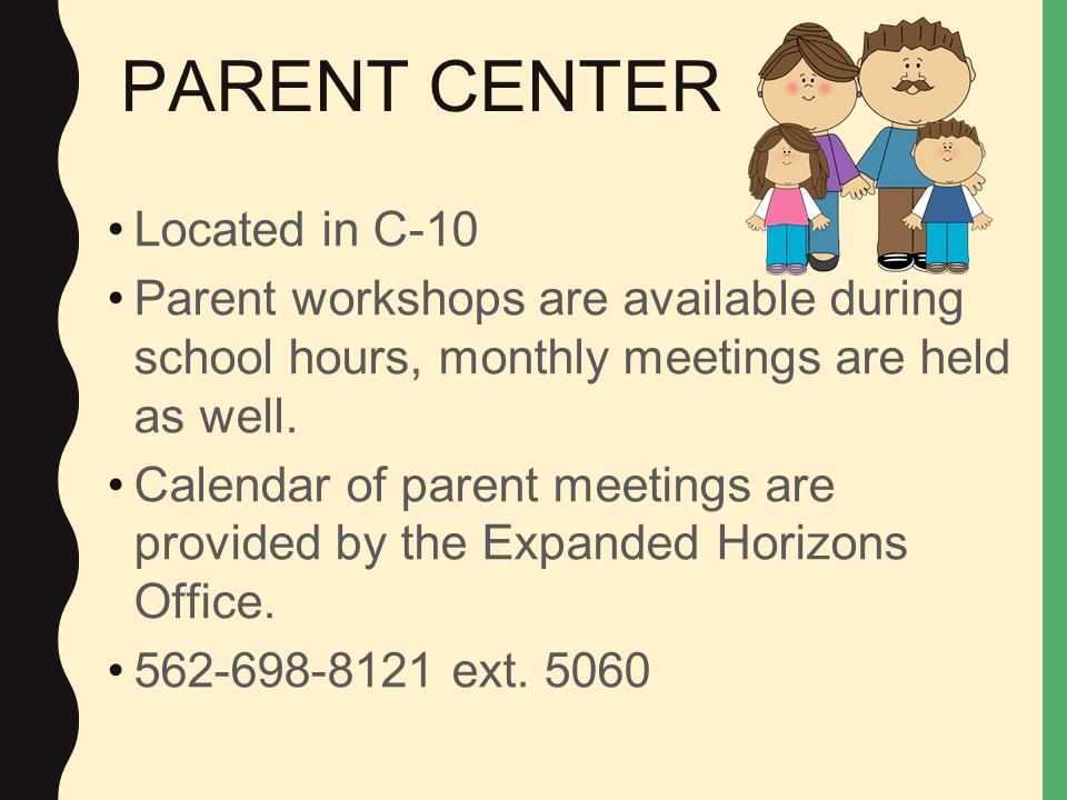 Parent Center power point slide