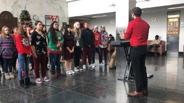Students performing in VA hospital during Christmas holidays