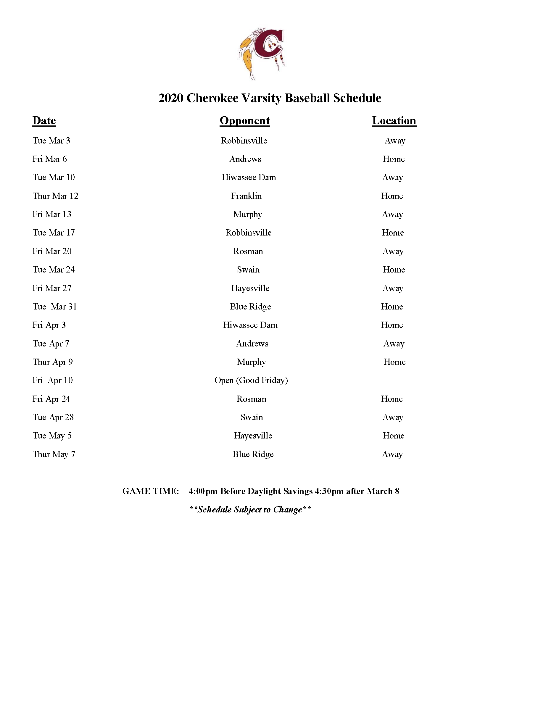 2020 CHS Baseball Schedule