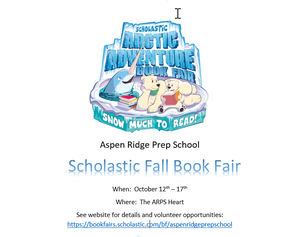 Flyer of the Scholastic Book Fair from Oct 12-Oct 17