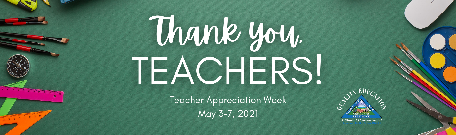 Teacher Appreciation Banner with Paint Brushes, Water Colors, Rulers, Scissors