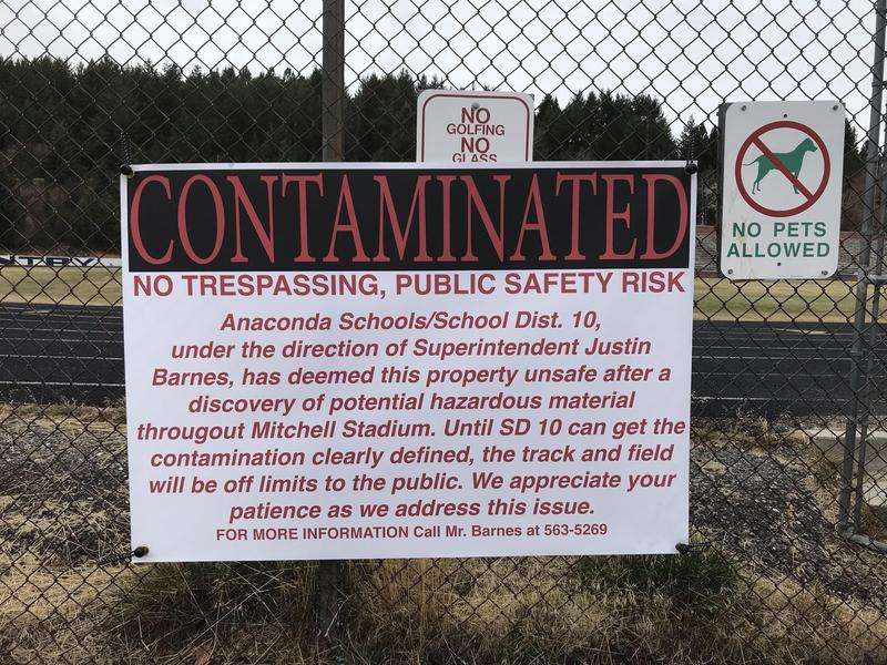 Contamination sign on Mitchell Stadium