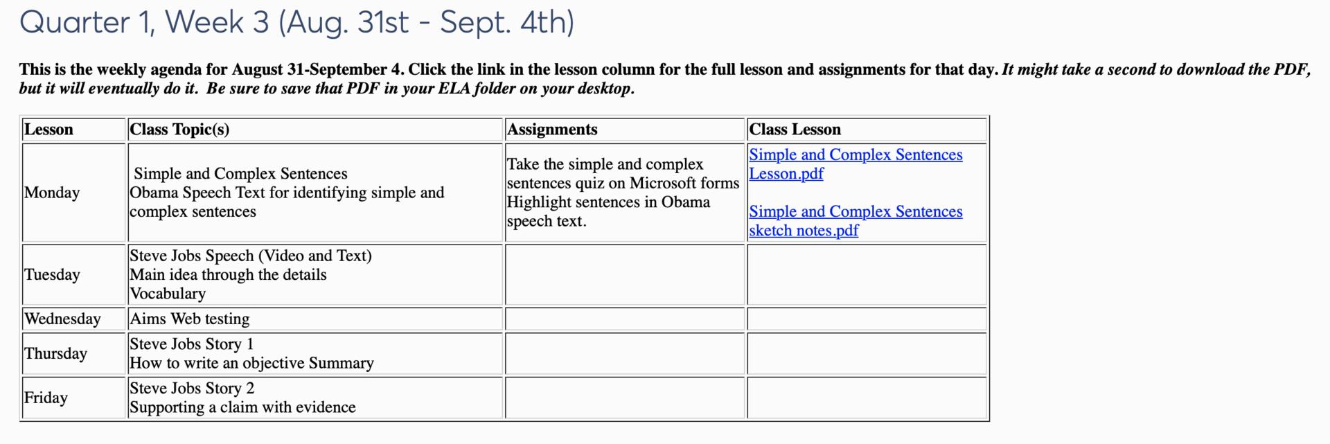 Weekly Agenda - Katrina Woods - Elmore Park Middle School