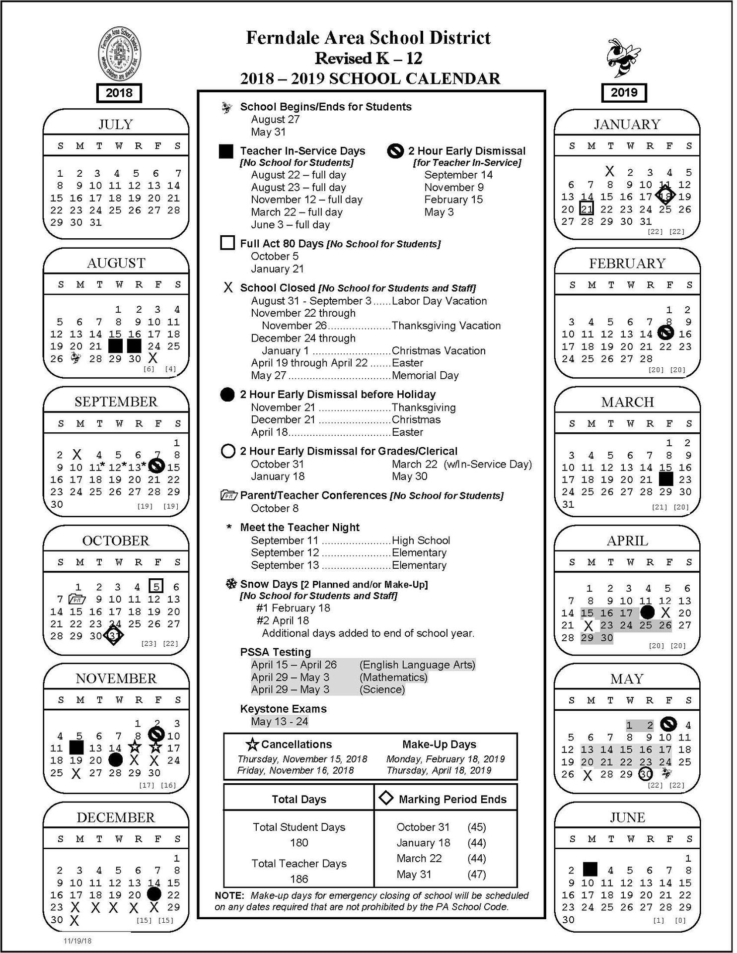 K-12 Revised School Calendar
