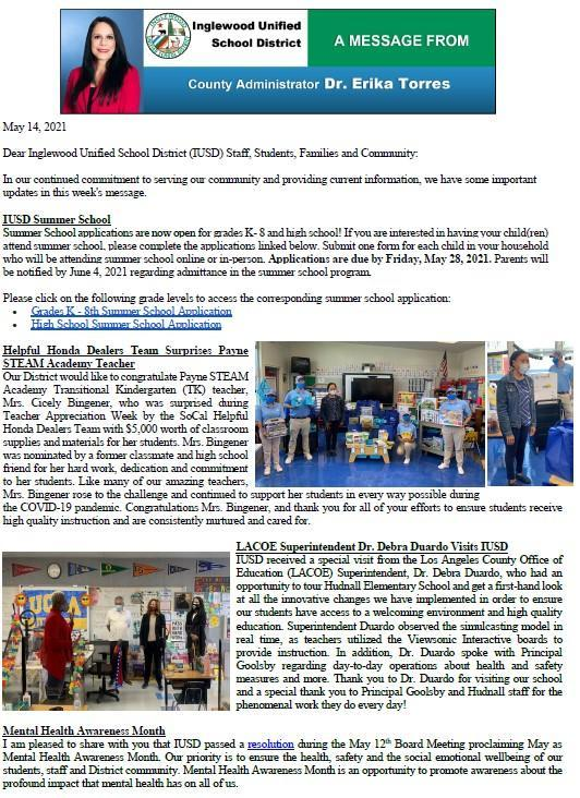 IUSD Communication to Parents, Staff, and Community - 5-14-2021 Featured Photo