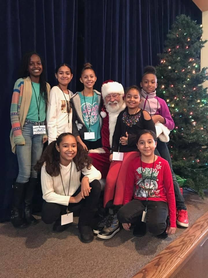 Rock island academy student council with santa