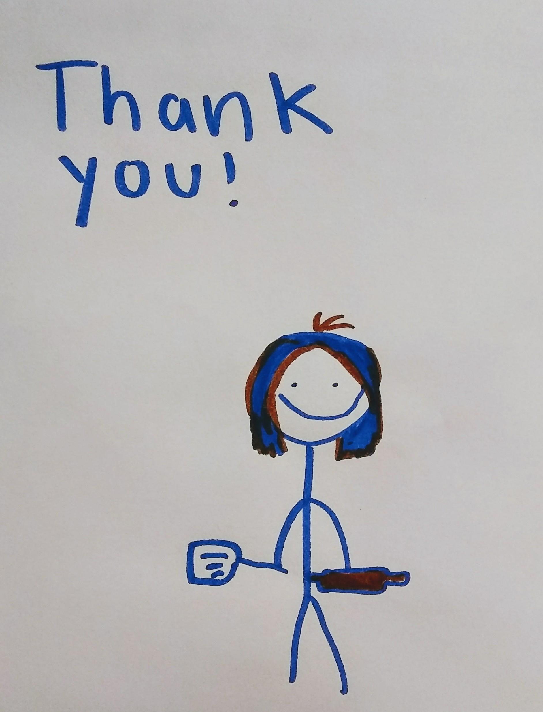 child's thank you card with drawings