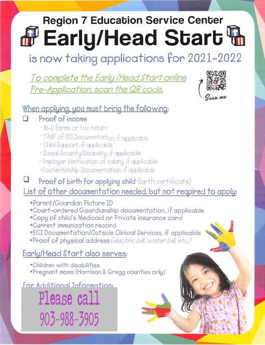 Head Start Registration Info Featured Photo