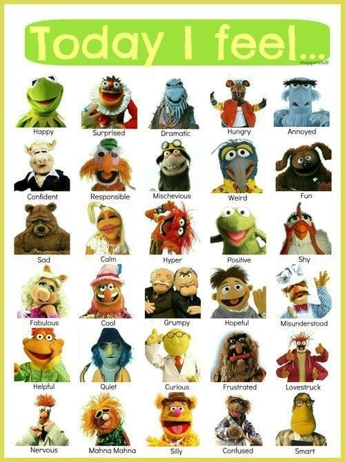 """""""Today I Feel"""" Muppets feelings graphic"""