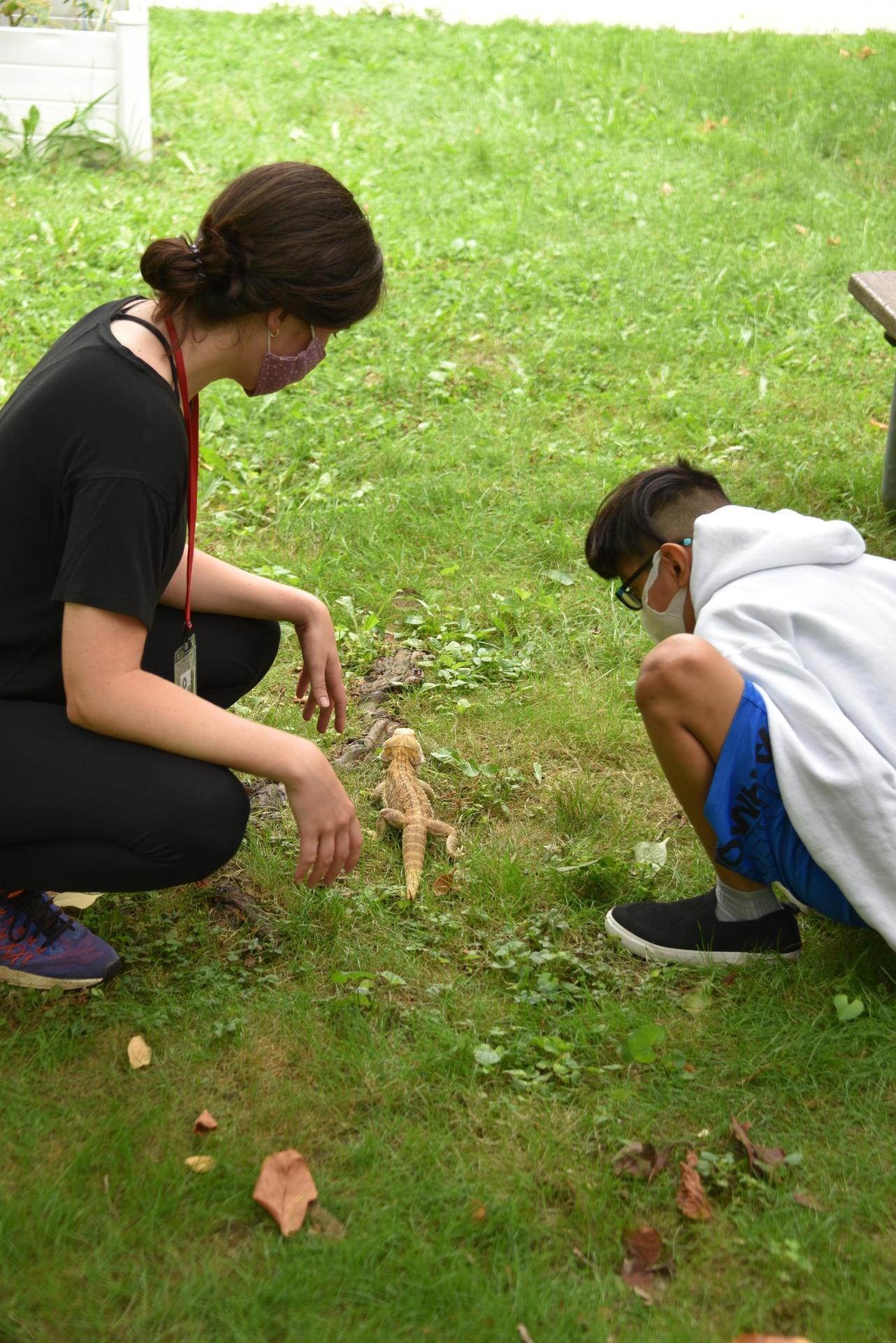 A teacher and students are sitting on the grass with a bearded dragon.