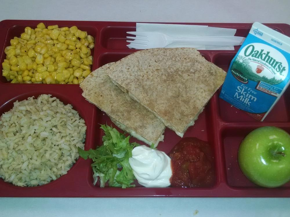 Cheese Quesadilla, Brown Rice, Corn, Apple and Milk