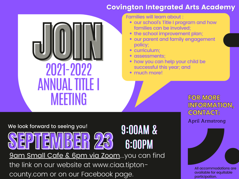 CIAA:  Annual Title I Meeting 2021-2022,  September 23, 2021, 9:00 A.M. (in-person) and 6:00 P.M. (via Zoom) Featured Photo