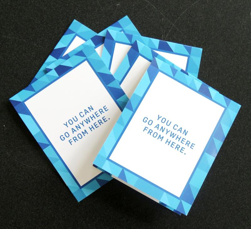 Cards adorned with the saying,