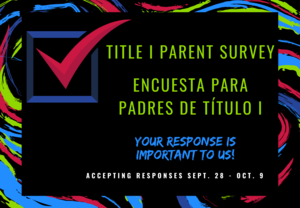 Title I parent survey. Your response is important to us. Open Sept. 18 - Oct. 9