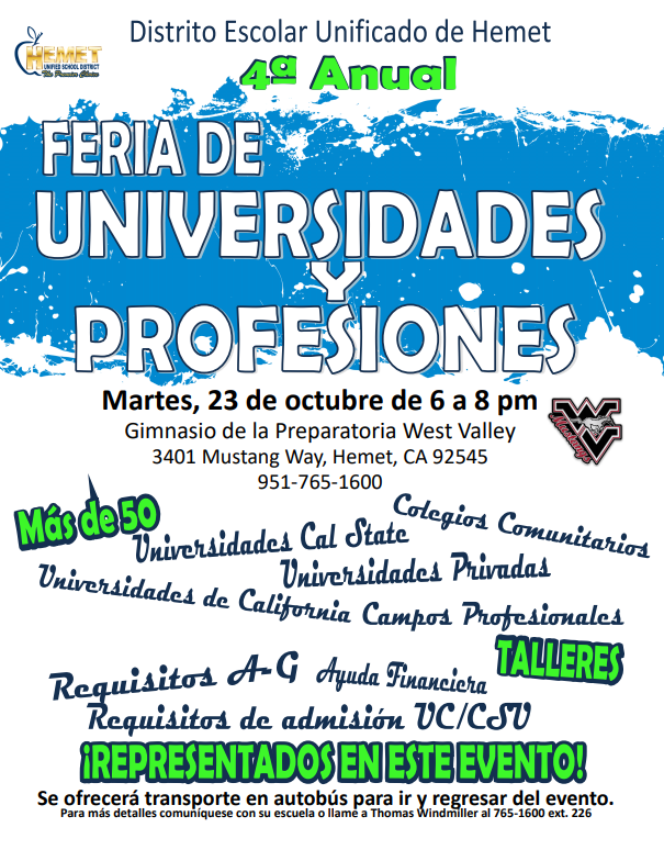 Flyer for the 4th Annual College and Career Fair at West Valley on October 23rd from 6-8 p.m. Spanish translation.