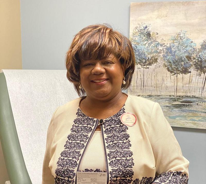 a photo of Interim Superintendent Perry after COVID-19 Vaccination
