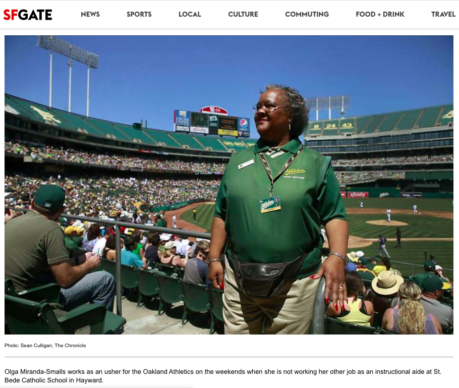 During the day she's a teacher's aide at St. Bede Catholic School in Hayward. But on weekends and assorted evenings, Olga Miranda-Smalls works in guest services at the O.co Coliseum in Oakland, directing fans to their seats at A's games.